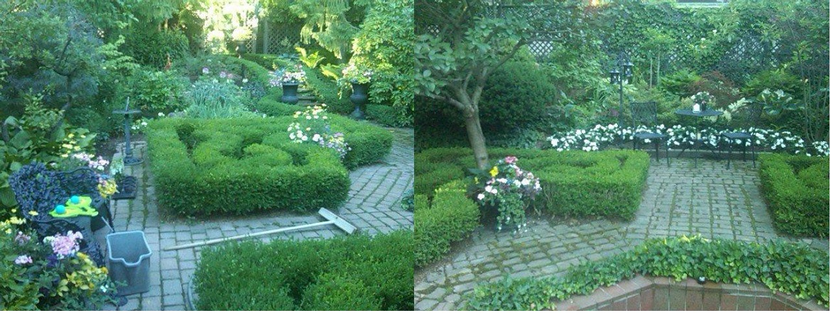 Two views of a garden with mazes