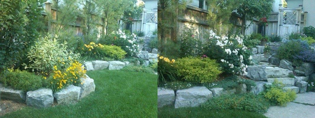 Rock wall around garden